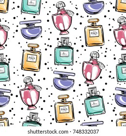 Perfume bottles with rose flowers watercolor background. Fragrance bottle seamless pattern. Hand drawn perfumery illustration. Fashion beauty art sketch. Template for cards, flyers, banners
