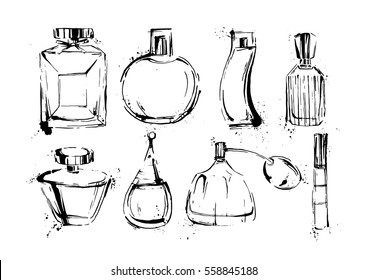 Perfume bottles set. Fashion sketch. Hand drawn vector illustrations EPS10.