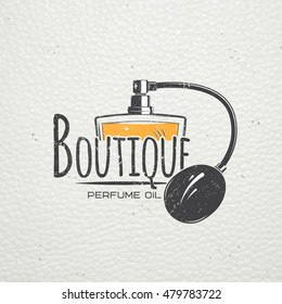 Perfume, boutique label. Detailed elements. Old retro vintage grunge. Scratched, damaged, dirty effect. Typographic logo.