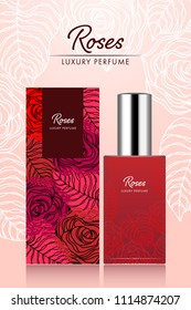 Perfume box and bottle template sweet roses flower and leaf design art abstract in red color vector illustration