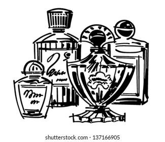 Perfume And Cologne Bottles - Retro Clip Art Illustration