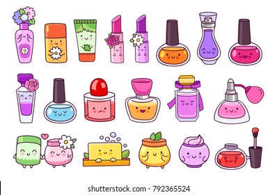 Perfume, cosmetics, nail polish, lipstick, lip gloss, cream jar, soap, shampoo. Big set of cute cartoon characters. Vector illustration.