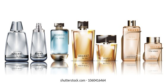 Perfume cosmetics set Vector mock up. Products packaging realistic different perfume bottles