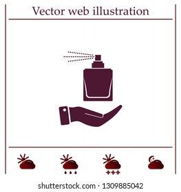 Perfume, eau de toilette, perfumery on the hand. Vector icon.