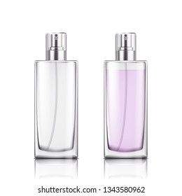 Perfume glass bottle on white background isolated vector illustration