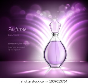 Perfume glass bottle product advertising realistic composition on blurred purple background with sparkles and rays vector illustration