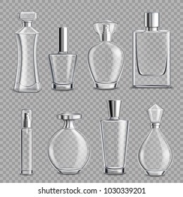 Perfume glass bottles various shapes and caps clear colorless realistic set on transparent background isolated vector illustration