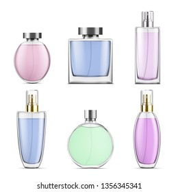 Perfume glass bottles various shapes caps and color. Vector illustration