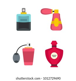 Perfume icon set. Flat set of perfume vector icons for web design isolated on white background