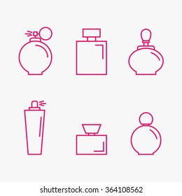Perfume isolated icons on background. Perfume bottles set. Fragrance. Perfumery products. Flat line style vector illustration.