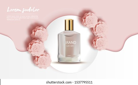 Perfume with peach rose and white wave background-Flower Paper Cut Banner-Vector Illustration