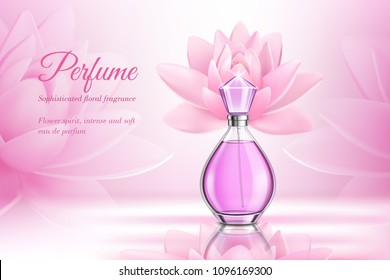 Perfume product rose composition for advertising of eau de parfum with floral fragrance realistic vector illustration