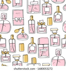 Perfume seamless pattern. Doodle glass bottles. Vector simple illustration