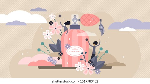 Perfume vector illustration. Flat tiny aroma spray product persons concept. Vintage bottle and hygiene fragrance for good body smell. Liquid female fresh flower cosmetics deodorant as elegant gift.
