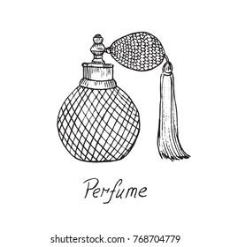 Perfume vintage bottle with inscription, hand drawn doodle sketc
