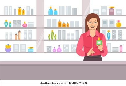 Perfumer girl near shelves with perfumes. Young woman seller offering bottle with new aroma at the counter of a perfume shop. Cosmetic store vector cartoon background