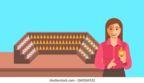 Perfumer near a perfume organ. Young woman holding spray with new custom made aroma composition near shelves with perfume mixtures in different glass bottles. Perfumery vector cartoon background