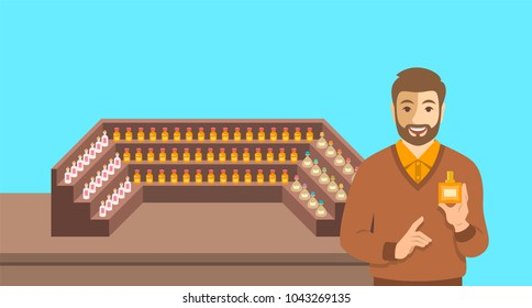 Perfumer near a perfume organ. Young man holding spray with new custom made aroma composition near shelves with perfume mixtures in different glass bottles. Perfumery vector cartoon background