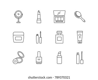 Perfumery and cosmetics line icons set with makeup mirror, lipstick, eyeshadow, hair brush, cream jar, mascara, powder, nail polish, foundation.