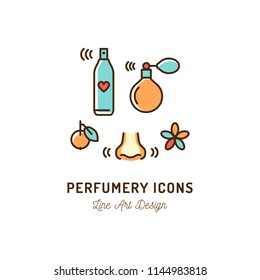 Perfumery Icons. Perfume, deodorant, smelling and smell, nose. Thin line art colorful design, Vector flat illustration
