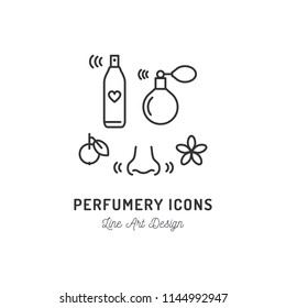 Perfumery Icons. Perfume, deodorant, smelling and smell, nose. Thin line art design, Vector flat illustration