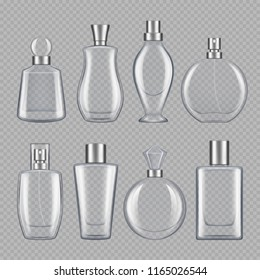Perfumes for male and female. Various bottles of perfume. Bottle glass container for perfume, various fragrance collection illustration