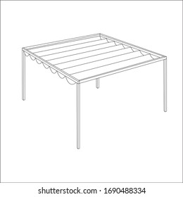 Pergola with fabric roof VECTOR EPS 10 drawing