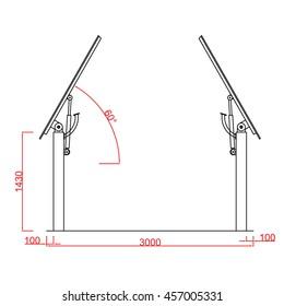 Pergola Vector Close Dimension Line Work Stock Vector Royalty Free