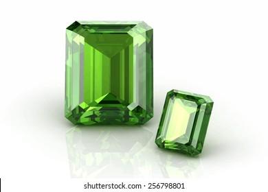 Peridot gem on white background .Vector illustration.