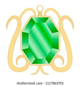 Peridot gemstone mockup. Realistic illustration of peridot gemstone vector mockup for web design isolated on white background