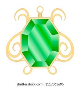 Peridot jewelry mockup. Realistic illustration of peridot jewelry vector mockup for web design isolated on white background