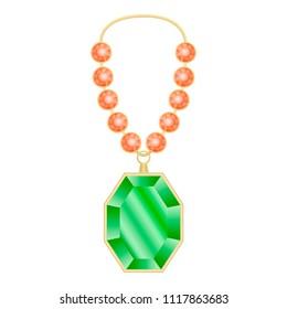 Peridot necklace mockup. Realistic illustration of peridot necklace vector mockup for web design isolated on white background