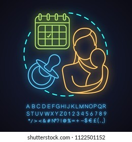 Perinatal center neon light concept icon. Motherhood and childcare idea. Child birth. Mother with newborn baby. Glowing sign with alphabet, numbers and symbols. Vector isolated illustration