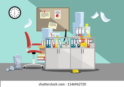 Period of accountants and financier reports submission. Pile of paper documents and file folders in cardboard boxes on office table. Flat vector illustration windows, red chair, waste-basket, clock