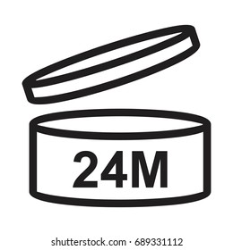 Period After Opening (PAO) 24 twenty-four  month, shelf life vector icon
