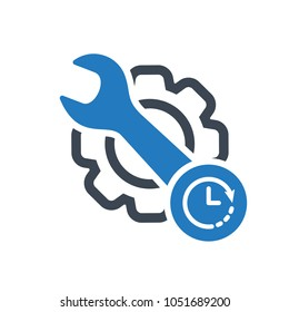 Periodic maintenance icon. Maintenance icon with clock sign. Maintenance icon and countdown, deadline, schedule, planning symbol. Vector icon