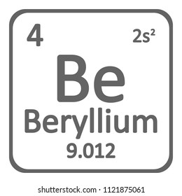 Periodic table element beryllium icon on white background. Vector illustration.