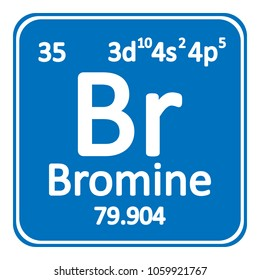 Periodic table element bromine icon on white background. Vector illustration.