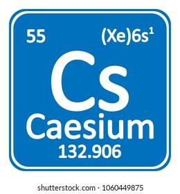 Periodic table element caesium icon on white background. Vector illustration.