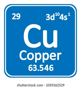 Periodic table element copper icon on white background. Vector illustration.