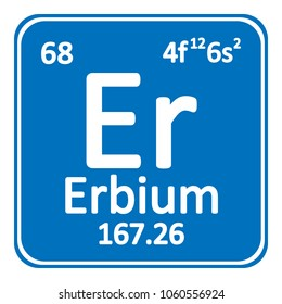 Periodic table element erbium icon on white background. Vector illustration.