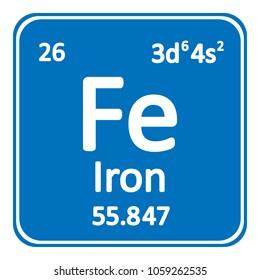 Periodic table element iron icon on white background. Vector illustration.