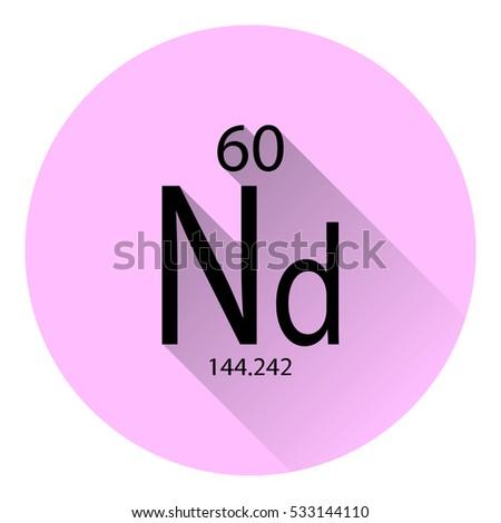 Periodic Table Element Neodymium Basic Properties Stock
