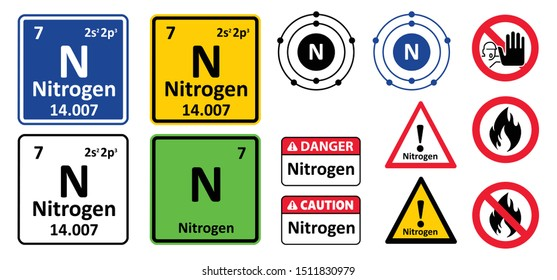 Periodic table element nitrogen No ban beware caution danger warning attention Vector icon icons sign signs pictogram group V Nitrogen chemical element atomic number No fire flame  chemistry character