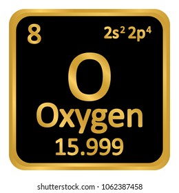 Periodic table element oxygen icon on white background. Vector illustration.