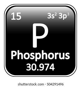 Periodic table element phosphorus icon on white background. Vector illustration.