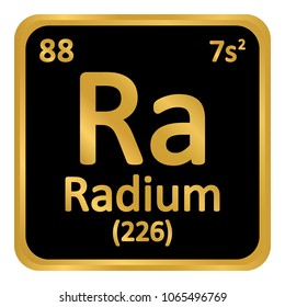 Periodic table element radium icon on white background. Vector illustration.