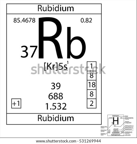 Periodic Table Element Rubidium Basic Properties Stock Vector