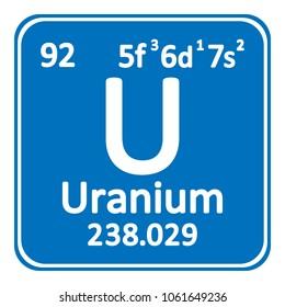 Periodic table element uranium icon on white background. Vector illustration.