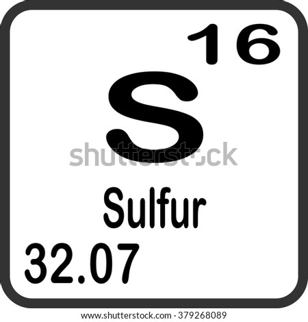 Periodic Table Elements Sulfur Stock Vector Royalty Free 379268089